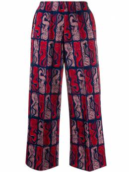Kenzo брюки широкого кроя с принтом FA52PA715900