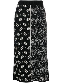 Kenzo жаккардовая юбка с разрезом FA52JU510816