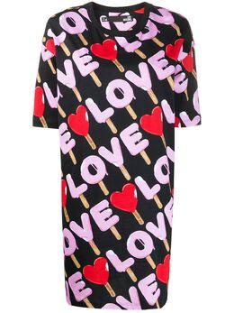 Love Moschino платье-футболка с принтом Love W592300M4180