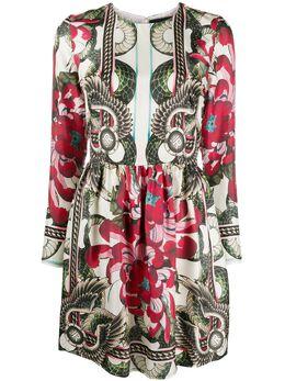 John Richmond платье мини с принтом и длинными рукавами RWP20207VESM
