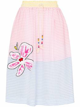 Mira Mikati юбка в клетку гингем с нашивками SKT031SS20