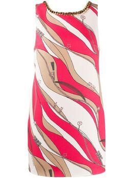 Elisabetta Franchi платье-трапеция с цепочкой и принтом AB20102E2