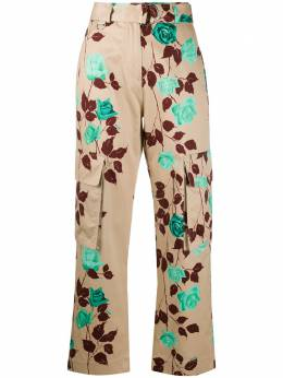MSGM брюки карго с завышенной талией и цветочным принтом 2841MDP38207172