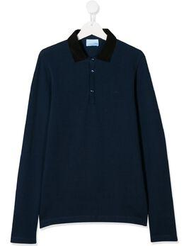 Lanvin Enfant рубашка-поло с длинными рукавами 4L8110LD920