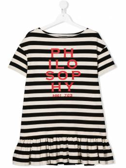 Philosophy Di Lorenzo Serafini Kids платье с оборками в полоску PJAB71JR02VH005T