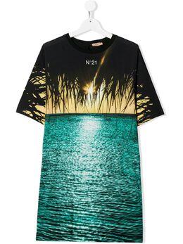 No.21 Kids платье-футболка с принтом N2147VTN0080