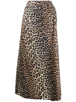 Ganni юбка с леопардовым принтом F4565