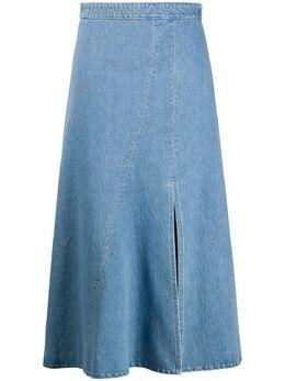 Simonetta Ravizza расклешенная юбка миди с разрезом спереди JCILIEGIAM