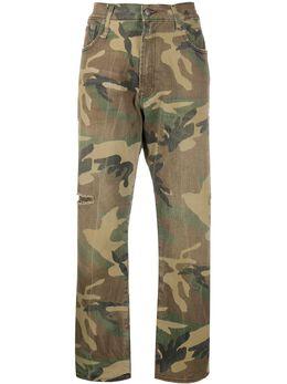 R13 прямые джинсы средней посадки с эффектом потертости R13W5083078C