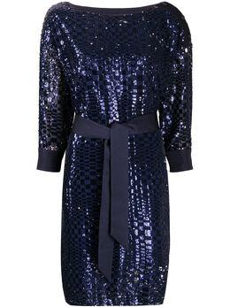 Emporio Armani платье с вышивкой пайетками и завязками на талии 3H2A892NWFZ