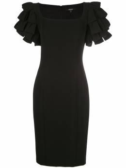 Badgley Mischka приталенное платье с оборками на рукавах SC2168