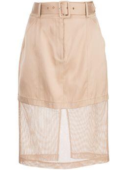 Fleur Du Mal юбка-карандаш с сетчатой вставкой SK0092539