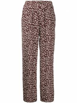 Ganni укороченные брюки с цветочным принтом F48016011