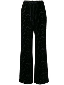 Nanushka брюки прямого кроя с кулиской GIADABLACKDEVOREEVELVET
