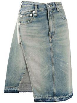 R13 джинсовая юбка асимметричного кроя с запахом R13W7492961B