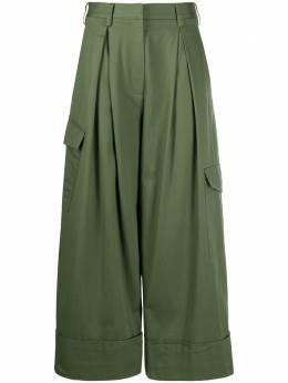 Tibi укороченные брюки со складками на талии R319HC3192