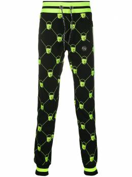 Philipp Plein спортивные брюки с кулиской и вышивкой Skull S20CMJT1520PJO002N
