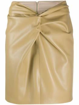 Nanushka юбка из искусственной кожи с драпировкой MILOLIGHTKHAKIVEGANLEATHER