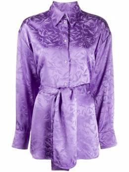 MSGM рубашка с жаккардовым цветочным узором и поясом 2842MDE108207302