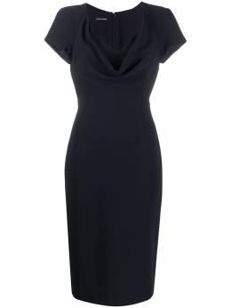Emporio Armani платье с короткими рукавами и драпировкой 5NA16T52006