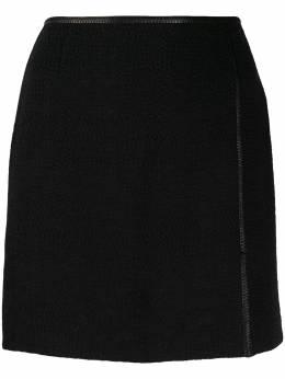 Nanushka юбка мини Asun с завышенной талией ASUNBLACKRUSTICWEAVE