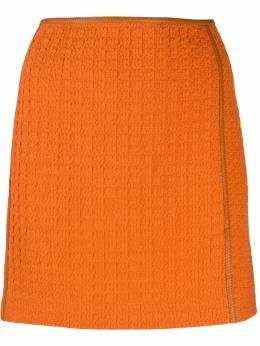 Nanushka фактурная юбка прямого кроя ASUNORANGERUSTICWEAVE