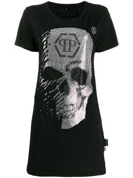 Philipp Plein платье-футболка с декором Skull A19CWTG0229PTE003N