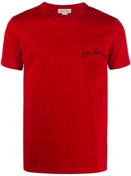 Alexander McQueen футболка с вышитым логотипом 599569QOX03