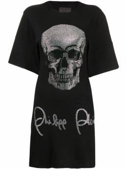 Philipp Plein платье-футболка с короткими рукавами и декором Skull F19CWTK1472PTE003N