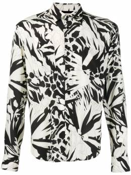 Saint Laurent укороченная рубашка с абстрактным принтом 520149Y2A27