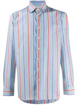 Etro полосатая рубашка с закругленным подолом 129086170