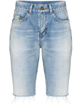 Saint Laurent джинсовые шорты с бахромой 621961Y894R