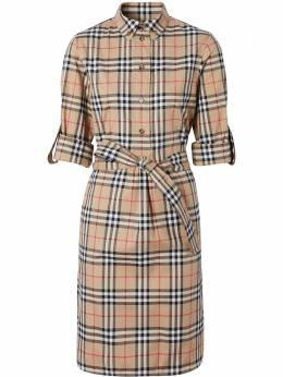 Burberry платье-рубашка в клетку Vintage Check с поясом 8024585