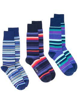 Paul Smith комплект из трех пар носков в полоску с логотипом M1ASOCKDPACK