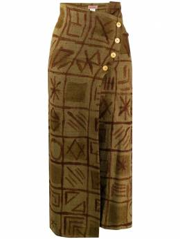 Romeo Gigli Pre-Owned юбка 1990-х годов с абстрактным принтом и пуговицами сбоку RGIG380F