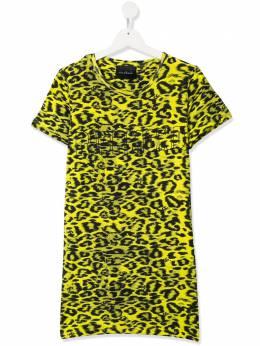 John Richmond Junior платье-футболка с леопардовым принтом RGP20209VEOF