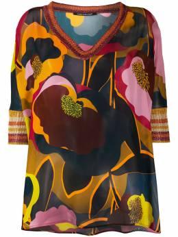 Luisa Cerano топ с V-образным вырезом и цветочным принтом 1186795234