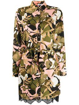 Liu Jo платье-рубашка с цветочным принтом и поясом WA0055T9147