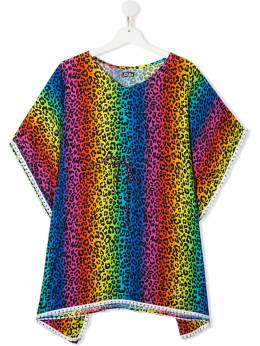 Mc2 Saint Barth Kids TEEN Kate rainbow leopard-print cover-up KATE