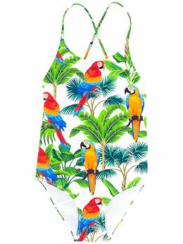 Mc2 Saint Barth Kids Shady parrot-print swimsuit SHADY