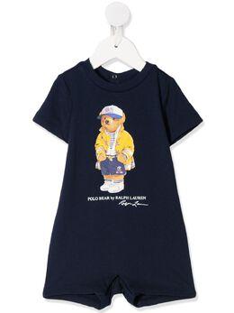 Ralph Lauren Kids Polo Bear print romper 320787303