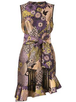 Josie Natori жаккардовое платье асимметричного кроя с цветочным принтом H13011