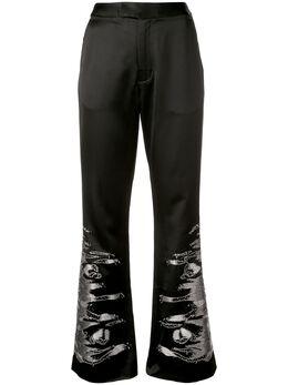 Josie Natori атласные брюки с вышивкой H17113