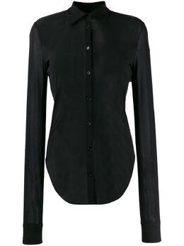 Jil Sander полупрозрачная рубашка с закругленным подолом JSCQ705015WQ467808