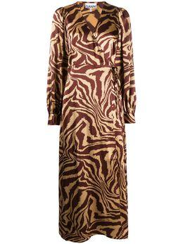 Ganni платье с запахом и анималистичным принтом F4514