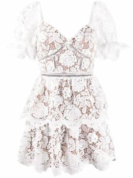 Self-Portrait кружевное платье мини с вырезом в форме сердца RS20113W