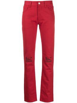 Raf Simons джинсы с вышивкой на коленях 1923141013400030