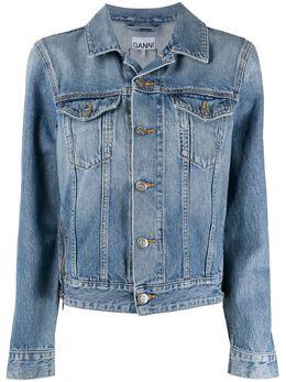Ganni zip detail denim jacket F4479