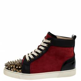 Christian Louboutin Black/Red Leather and Suede Louis Spike High Top Sneakers Size 37 281307