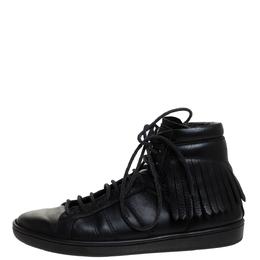 Saint Laurent Black Leather Court Fringe Sneakers Size 37 281314